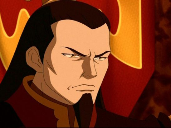 Ozai in front of his banner.