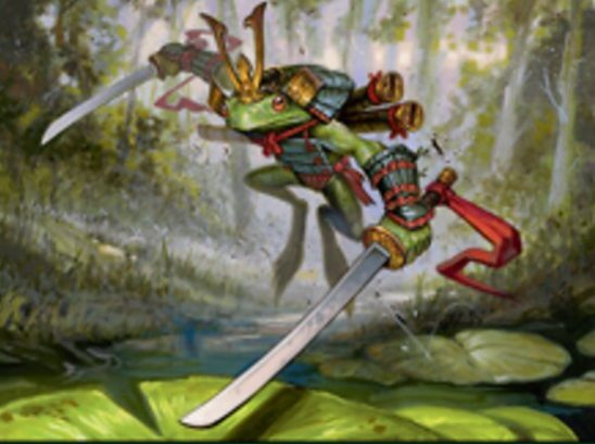 A frog wielding two swords.