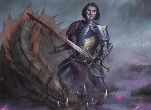 A man in purple armor next to a dead dragon.