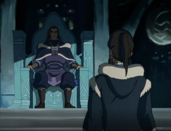 Korra approaching Unalaq on his throne.
