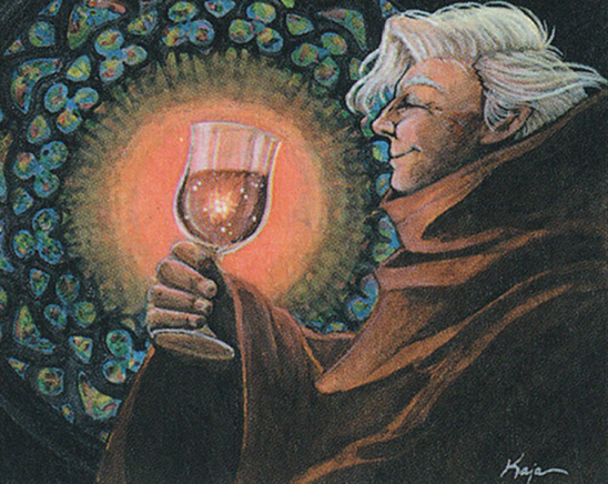 A monk raising a cup of glowing wine.