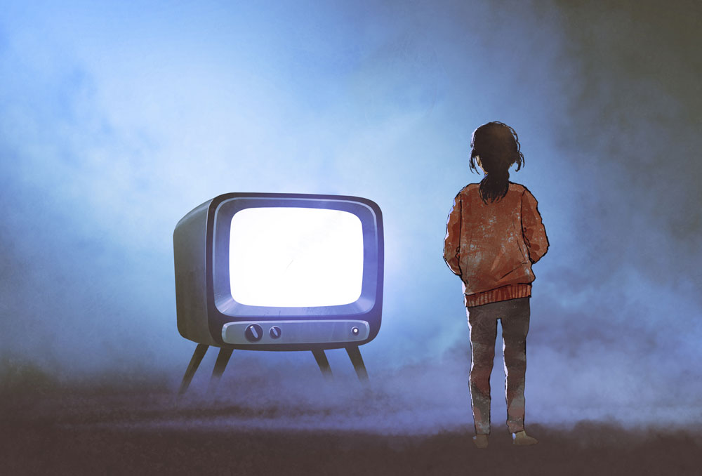 A girl stares at a retro TV with a blank white screen