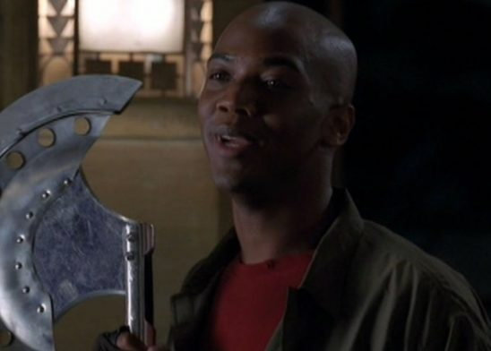 Gunn with an home made axe.