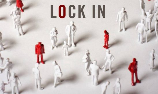 Red and white and figures from the cover of Lock In.
