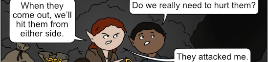 two adventurers crouch in a cavern next to bags of loot