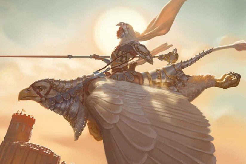 An armored woman riding a giant bird.