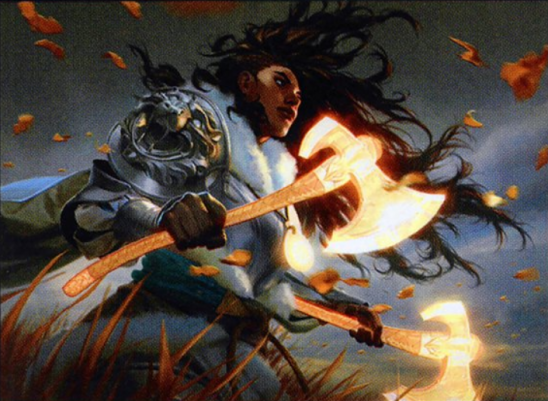 An armored woman with two glowing axes.