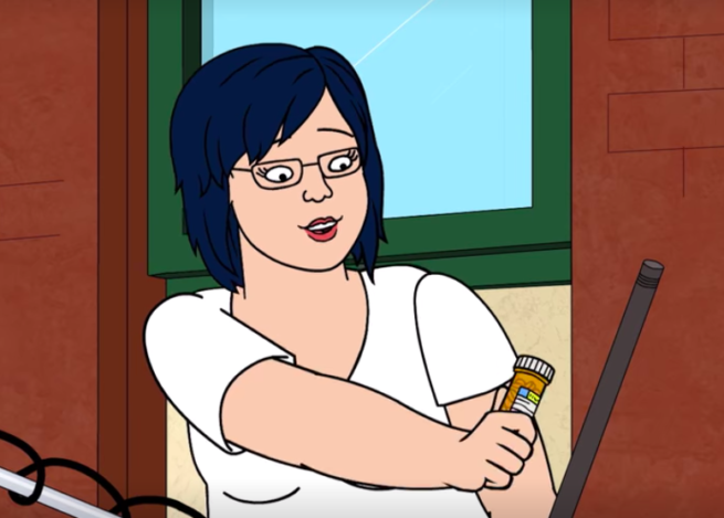 Diane from BoJack Horseman looking at her new medication.