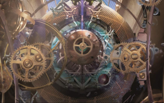 A series of gears and valves from the cover art of A Master of Djinn