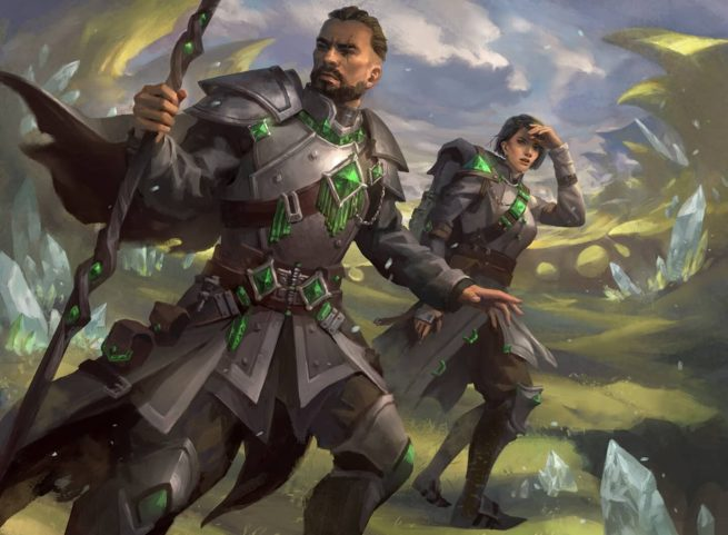 Two rangers with green gems on their armor.