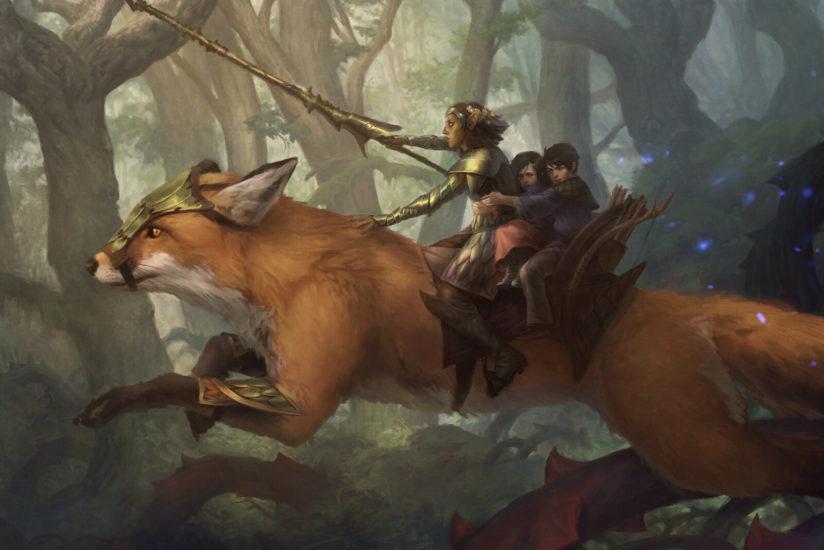 A ranger riding on a giant fox.