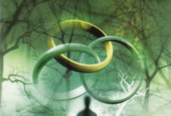 Three interlocking rings from the cover of Magician's Nephew