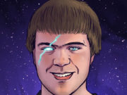 Illustration of a young man with bowl cut brown hair and a glowing scar through one eye