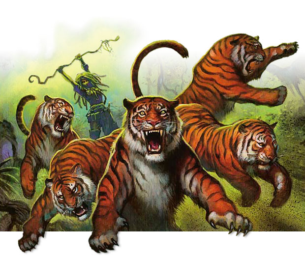 Tigers leaping at their tamer's command.