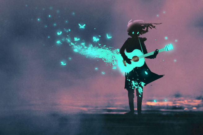 A girls plays a glowing teal guitar as butterflies fly out of it