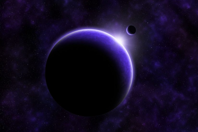 A glowing purple planet and moon over a starry background