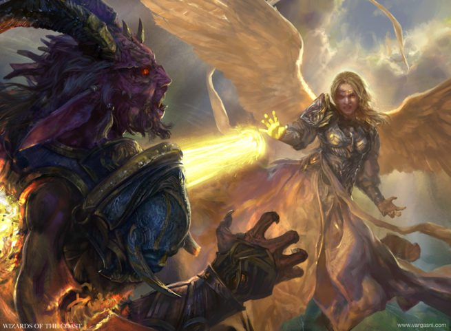 A winged, armored woman blasting a demon with lasers.
