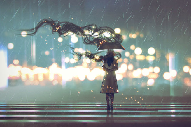 A woman with an umbrella stands before the city lights, emanating smoke