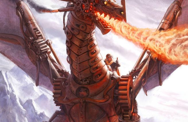 A mechanical dragon breathing fire.