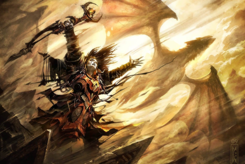 A woman commanding a dragon.