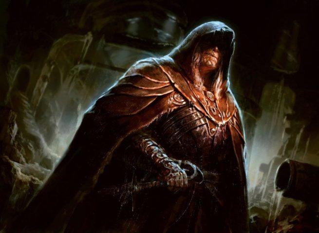A cloaked figure wearing a hood.