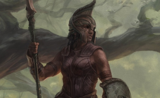 An armored woman with spear and shield.