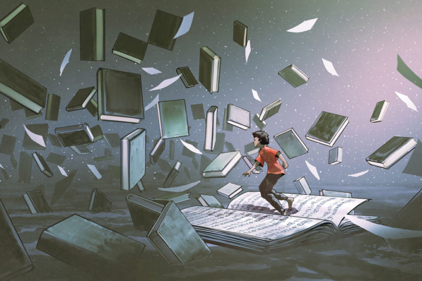 A boy runs over the pages of a giant book as books fly chaotically through the air around him