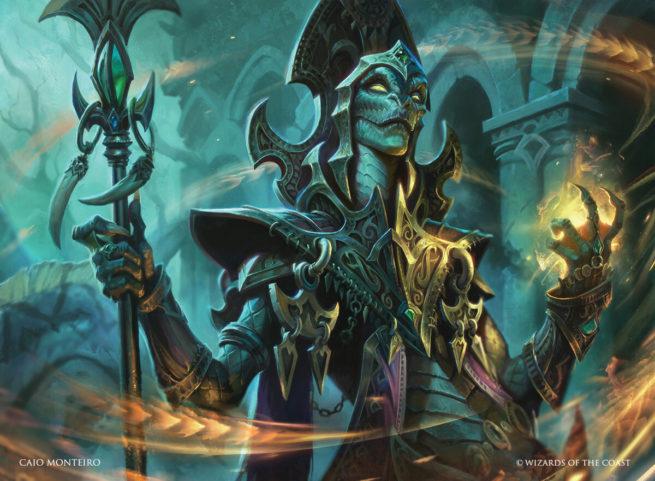 A snake woman summoning Magic.